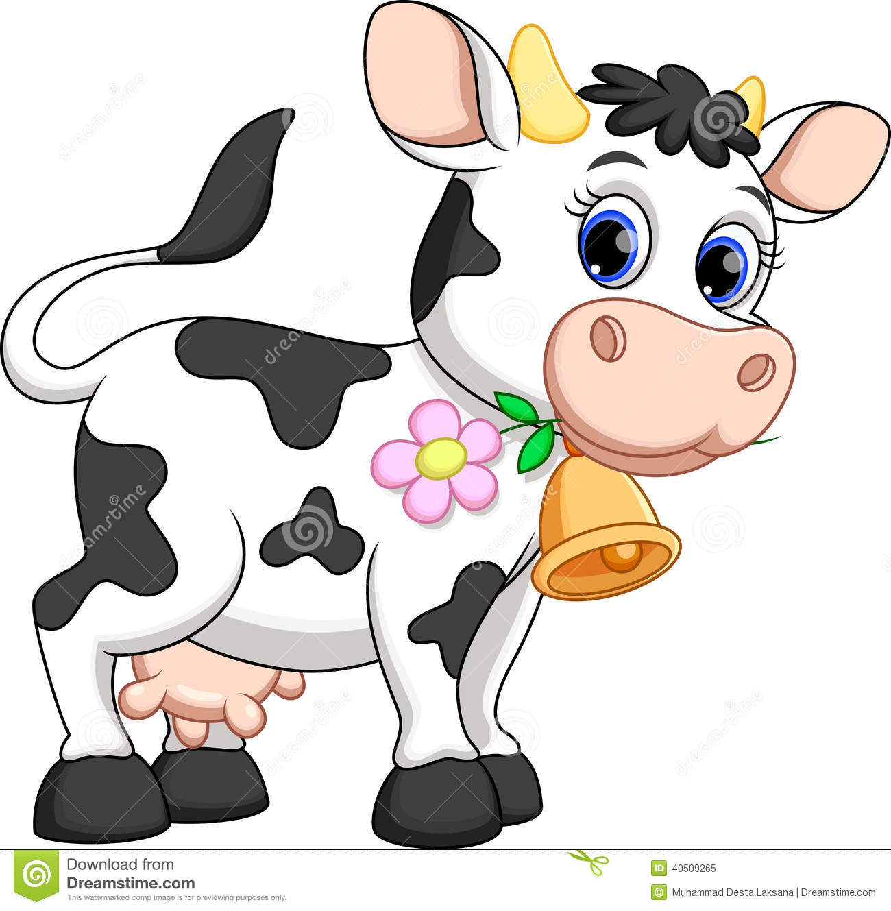 Cute cow cartoon stock illustration of