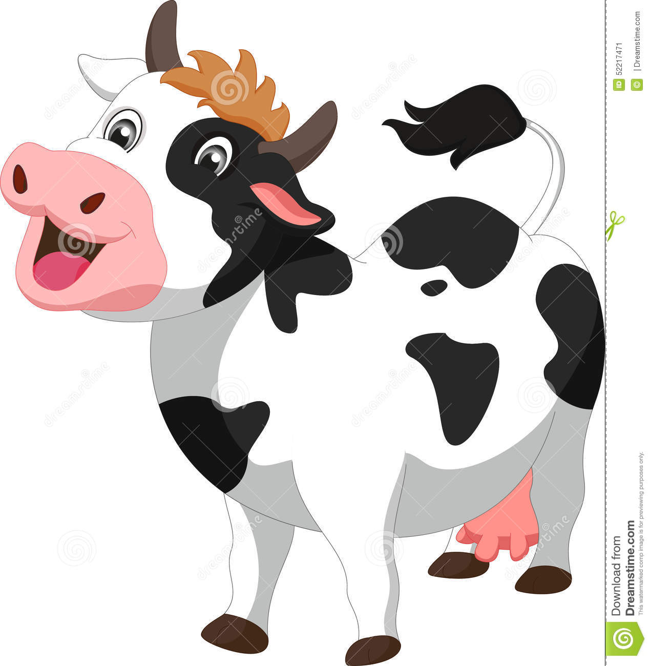 Illustration of cute cow cartoon isolated on white.
