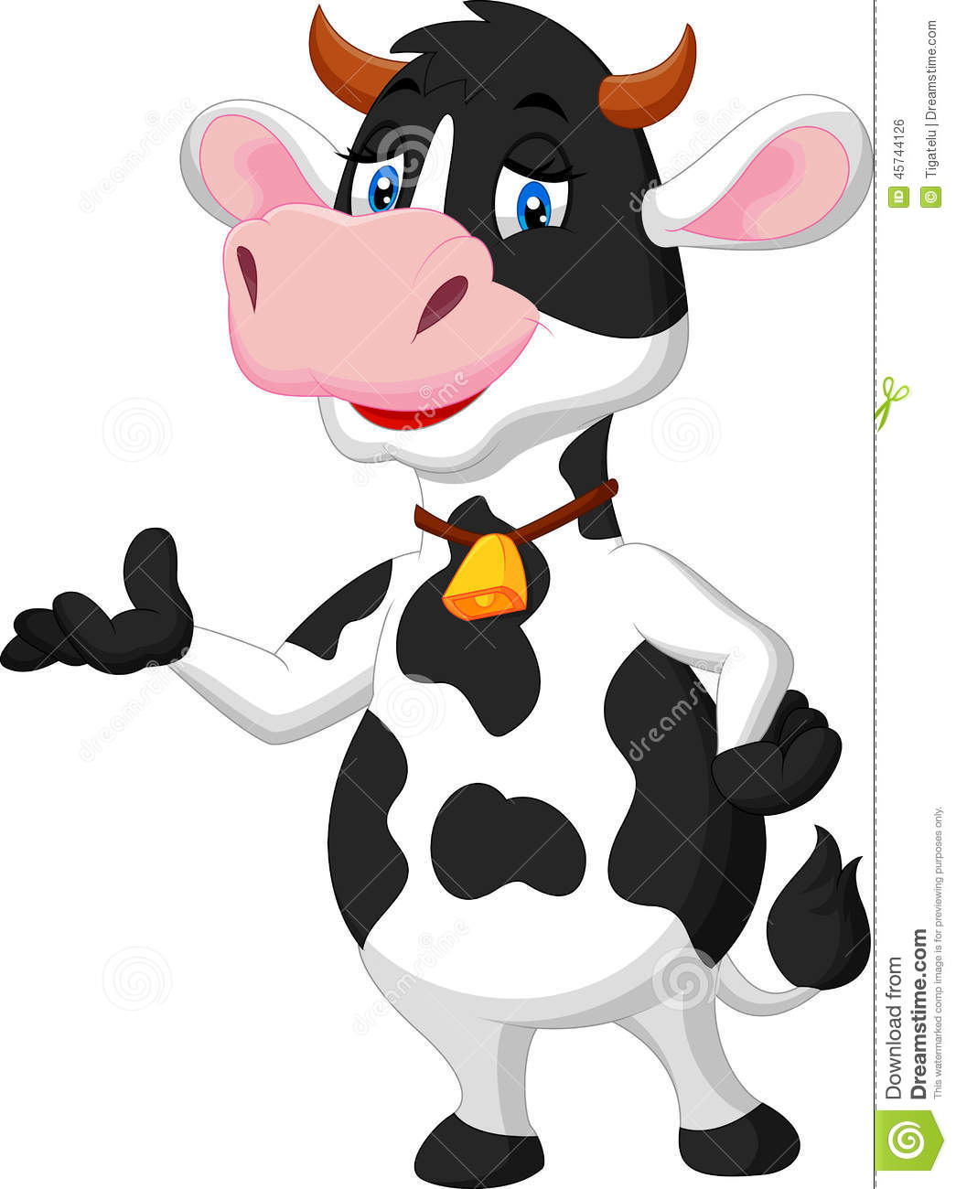 Cute Cow Cartoon Presenting Stock Vector