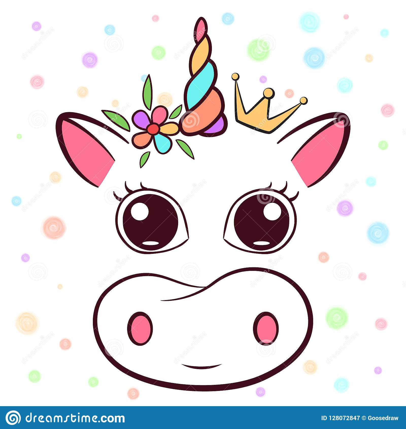 Cute Cow Cowicorn Characters Idea For Print T Shirt Stock Vector