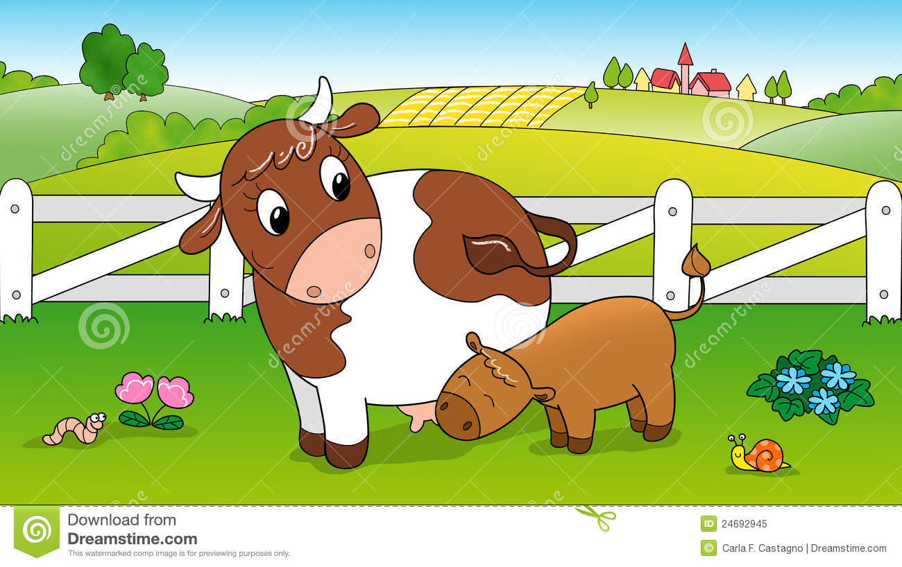 Cute Cow Feeding Calf Stock Illustration Image Of Meal