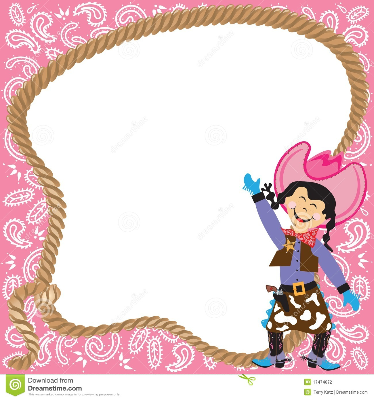 Cute Cowgirl Birthday Party Invitation Stock Vector - Illustration ...