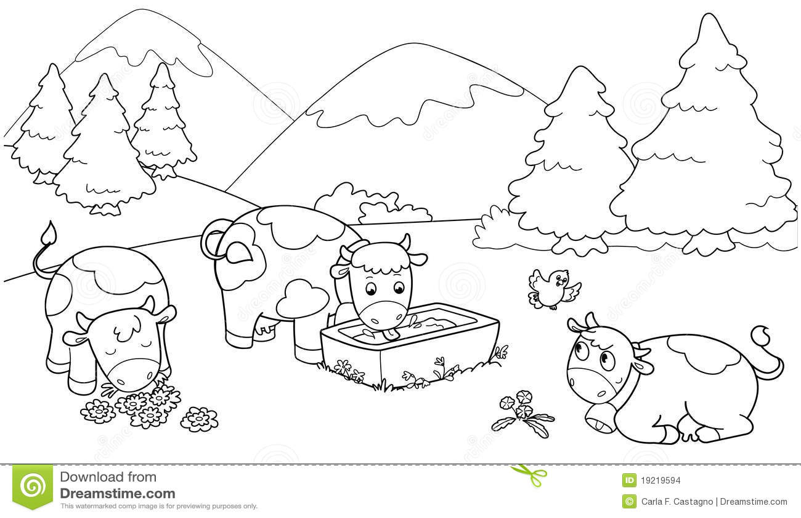 Mandalas Para Pintar Animal Bordeado De Paisaje On: Cute Cows Stock Images