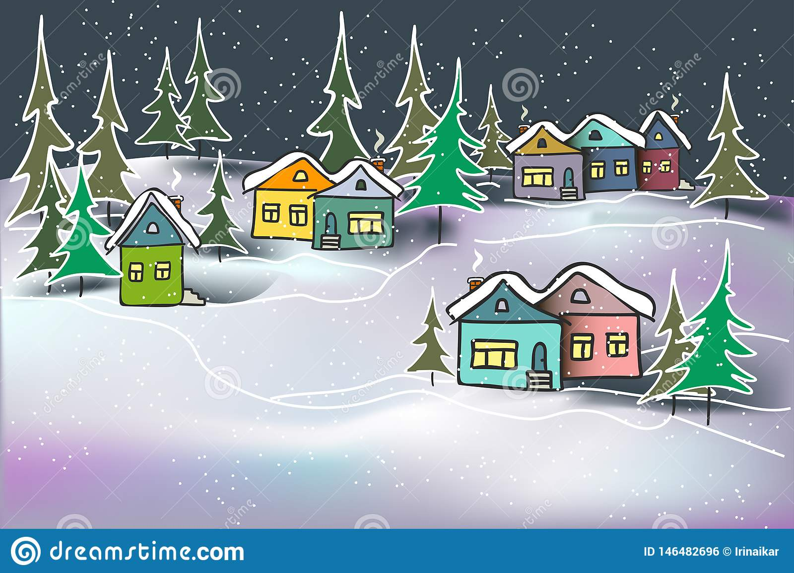 Cute cozy night winter landscape caramel multicolored houses and firs in snow drifts.