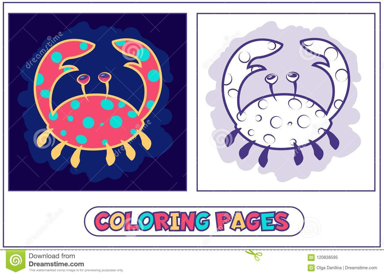 Cute Crab Coloring Pages Stock Vector Illustration Of Exotic 120838595