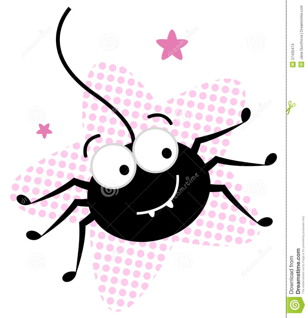 More similar stock images of cute crazy black spider in pink star