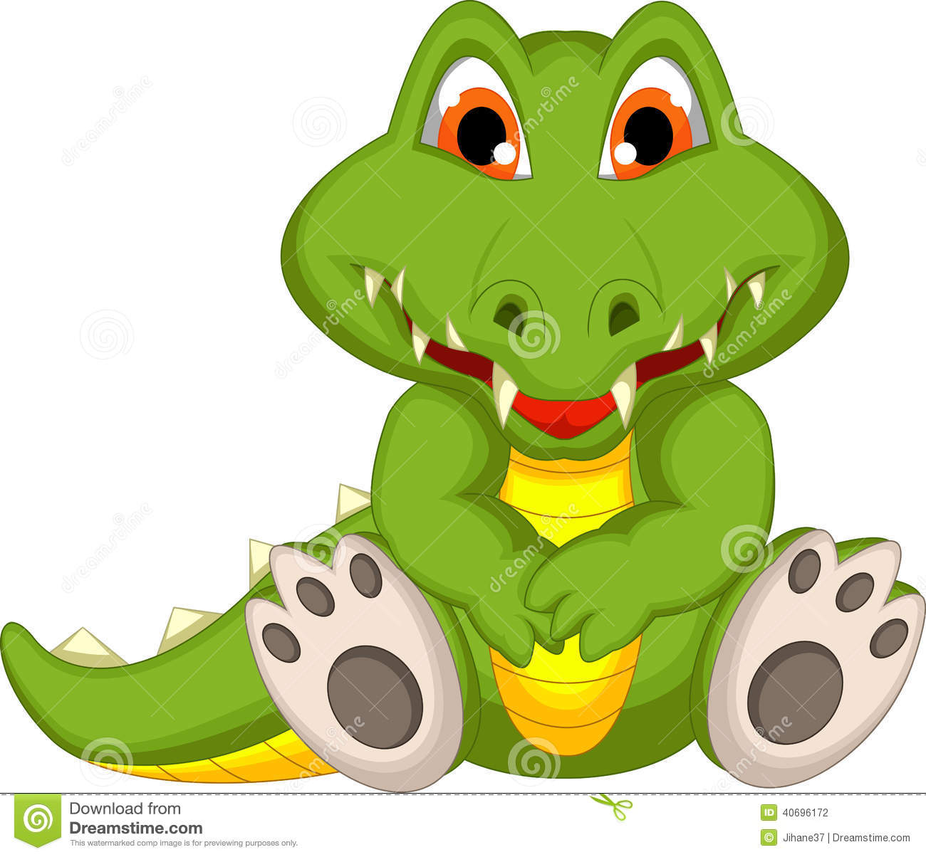 Cute Crocodile Cartoon Sitting Stock Illustration Image