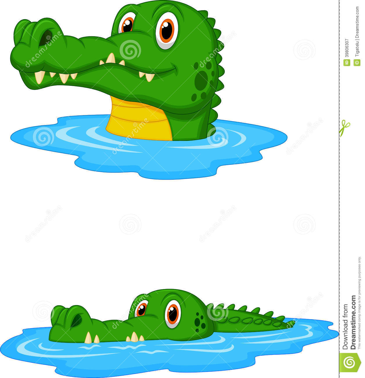 Cute Crocodile Cartoon Swimming Stock Vector ...