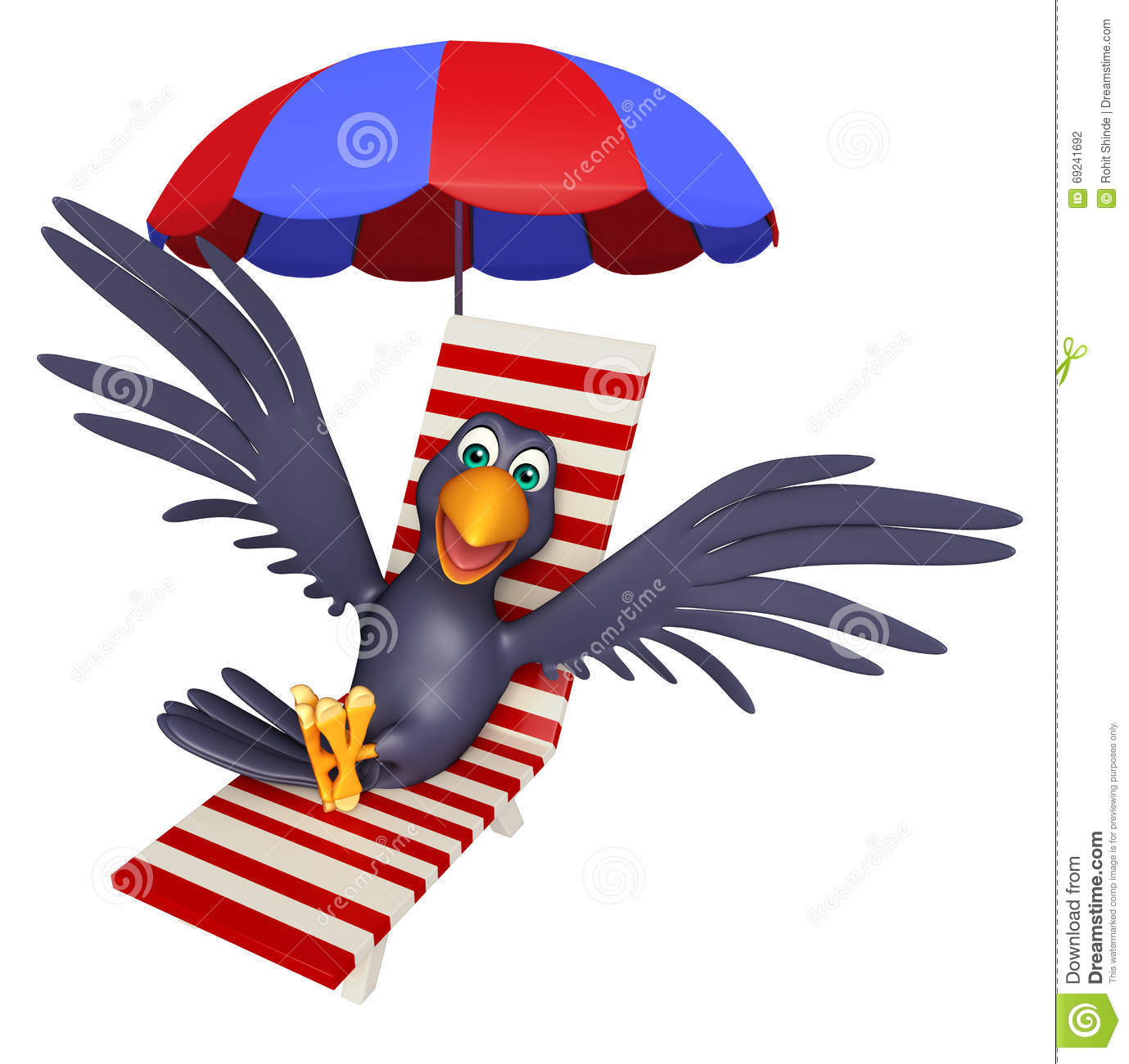 2 Crows Cartoon Characters : Cute crow cartoon character with beach chair stock