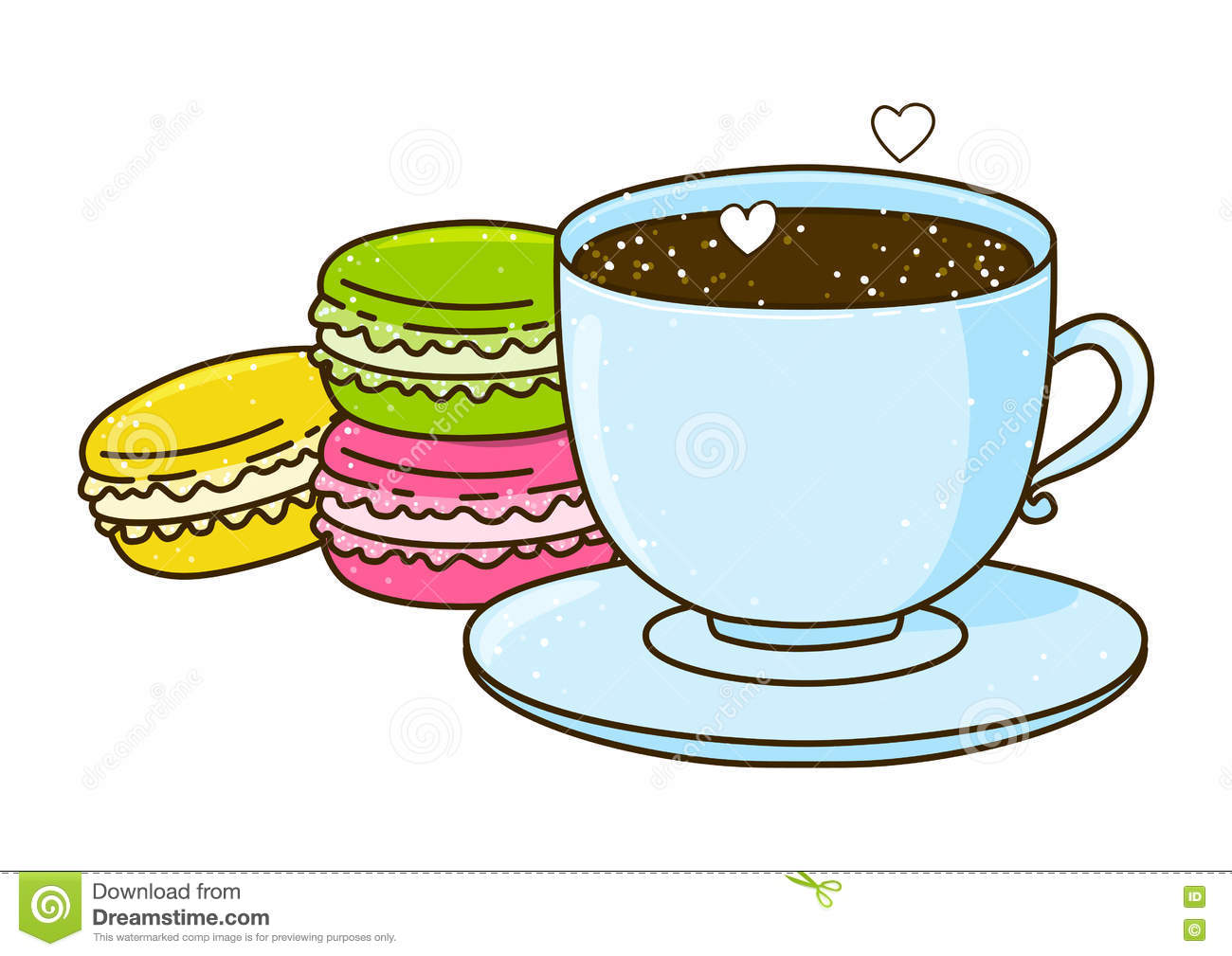 Cute Cup Of Coffee With Macarons Stock Vector
