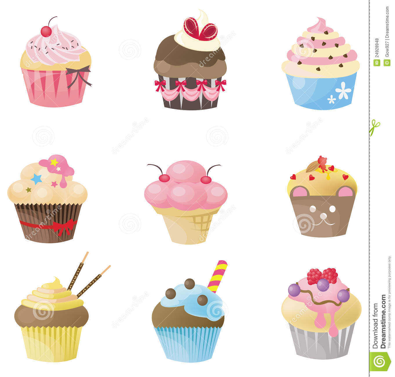 Cute Cupcake With 9 Different Look Stock Vector ...