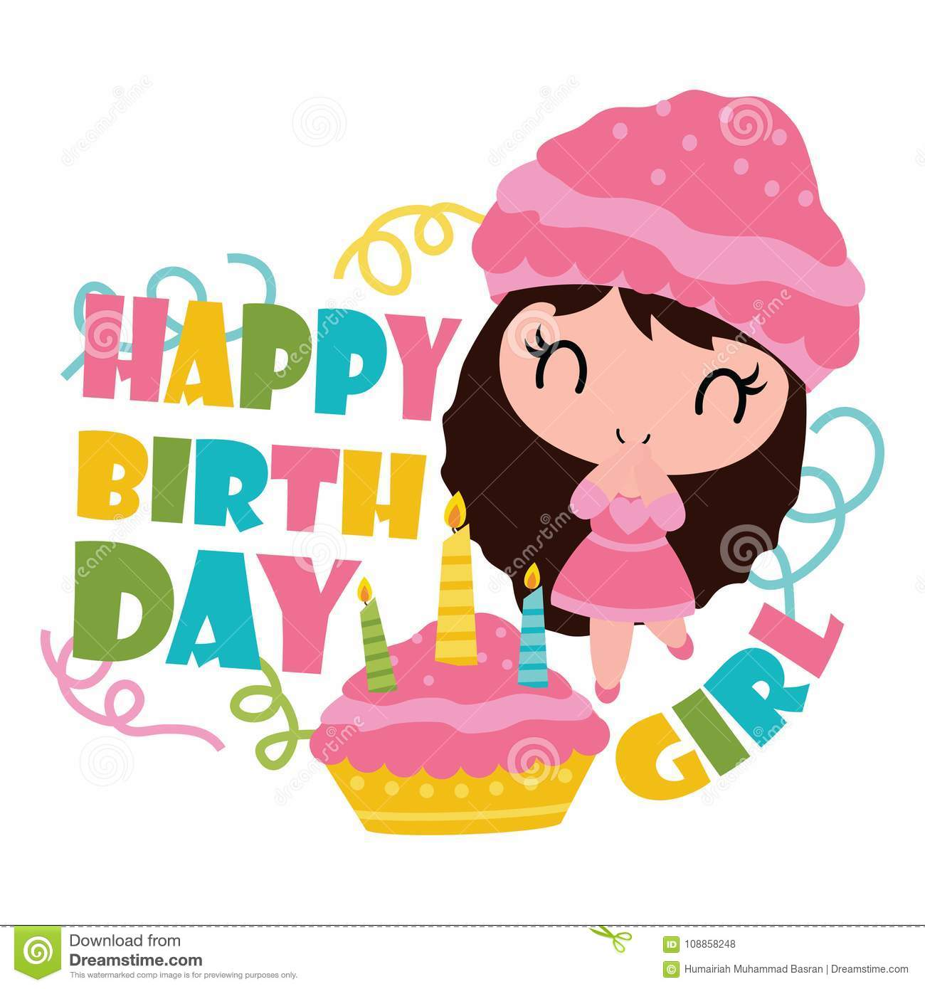 Cute Cupcake Girl With Her Birthday Cake Cartoon Illustration For