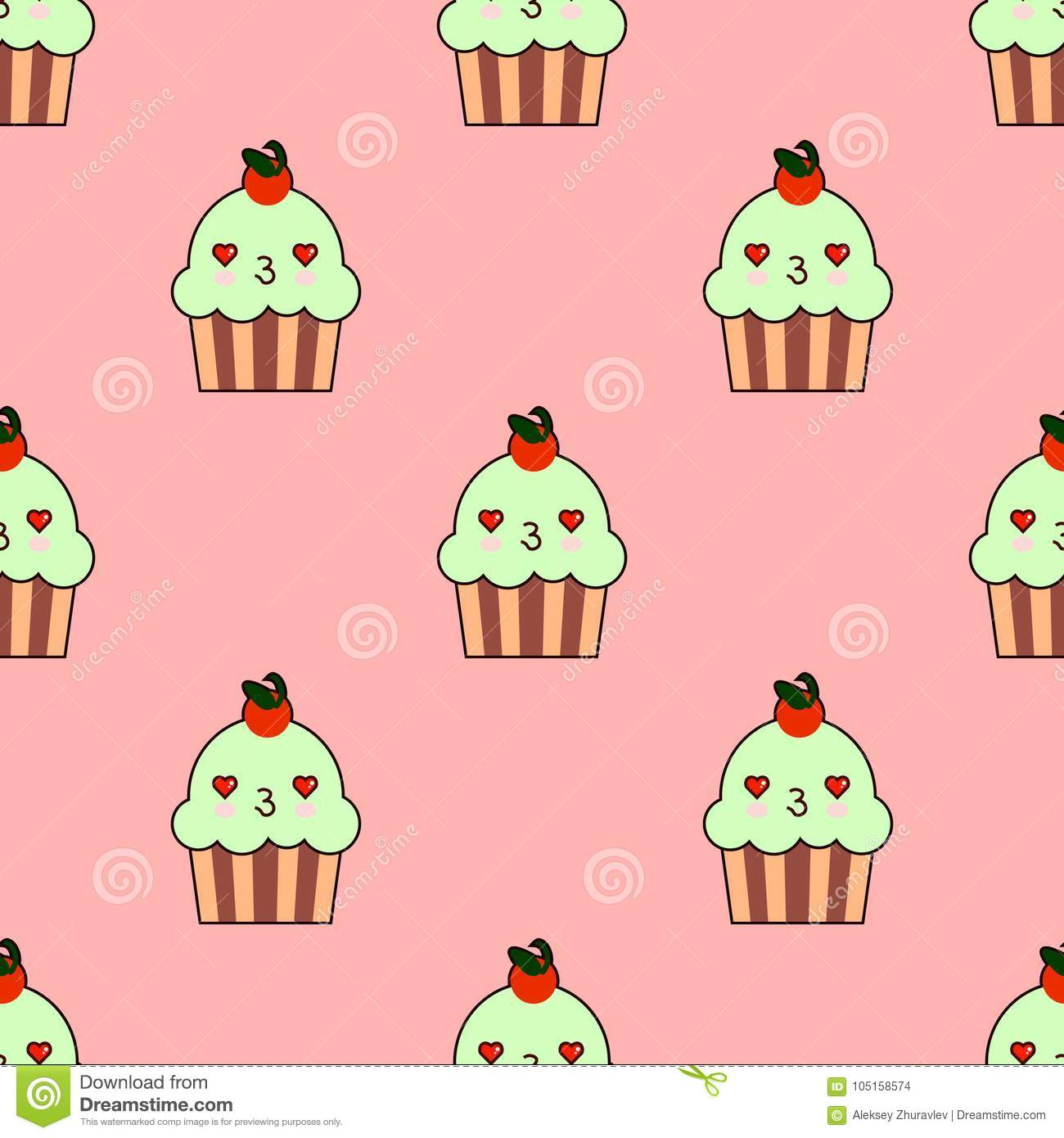 Cute Cupcake Seamless Pattern With Kawaii Faces Smiley Cup Cakes Charry Topping Flat