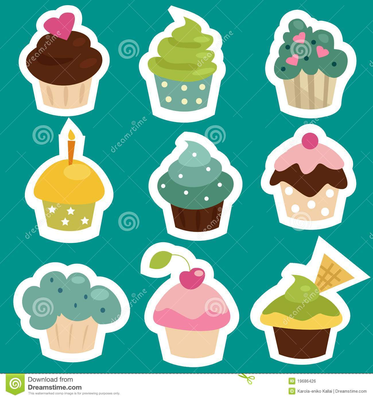 Cute Cupcake Stickers Royalty Free Stock Image - Image: 19686426