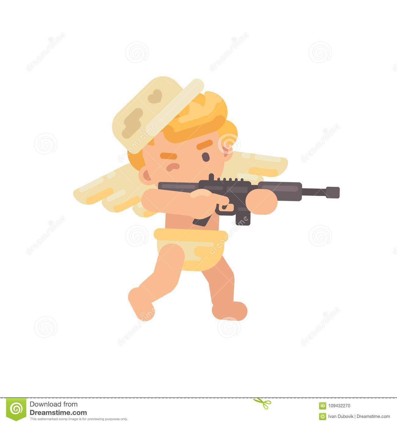 Cute cupid in a military cap shooting a rifle. Valentines Day icon