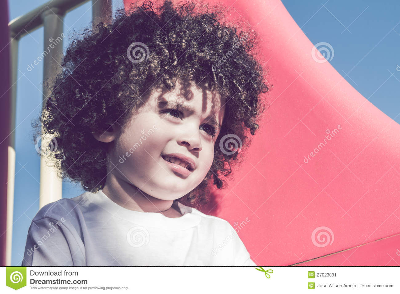 Cute curly hair kid stock image. Image of cute, outdoors