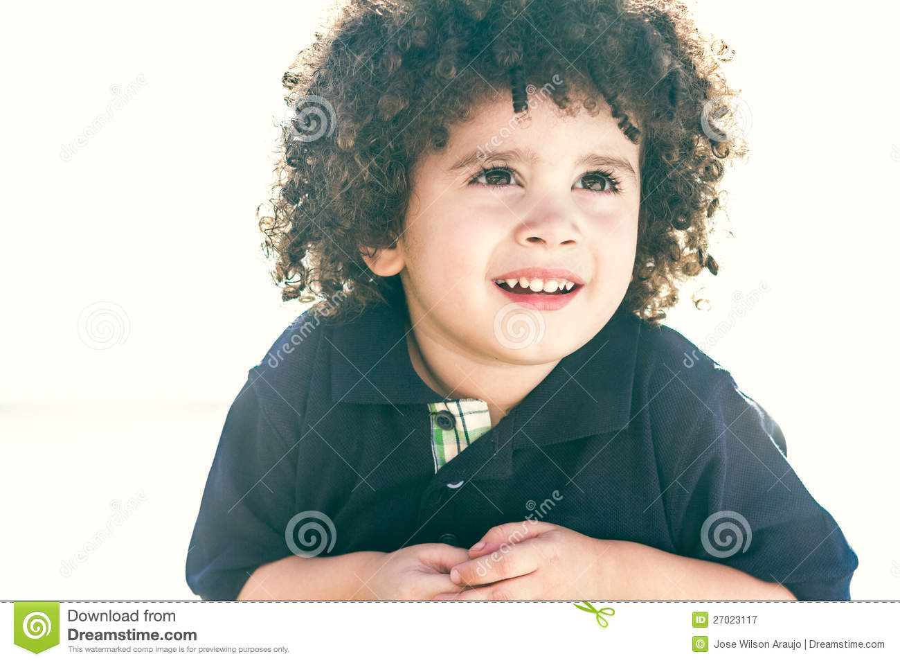 Cute Curly Hair Kid Stock Image Image Of Field Child 27023117