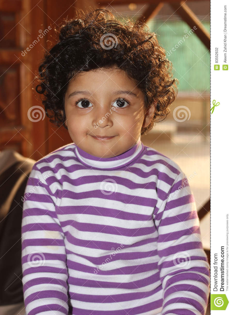 Cute Curly Hair Light Skin South Asian Boy Stock Photo - Image of