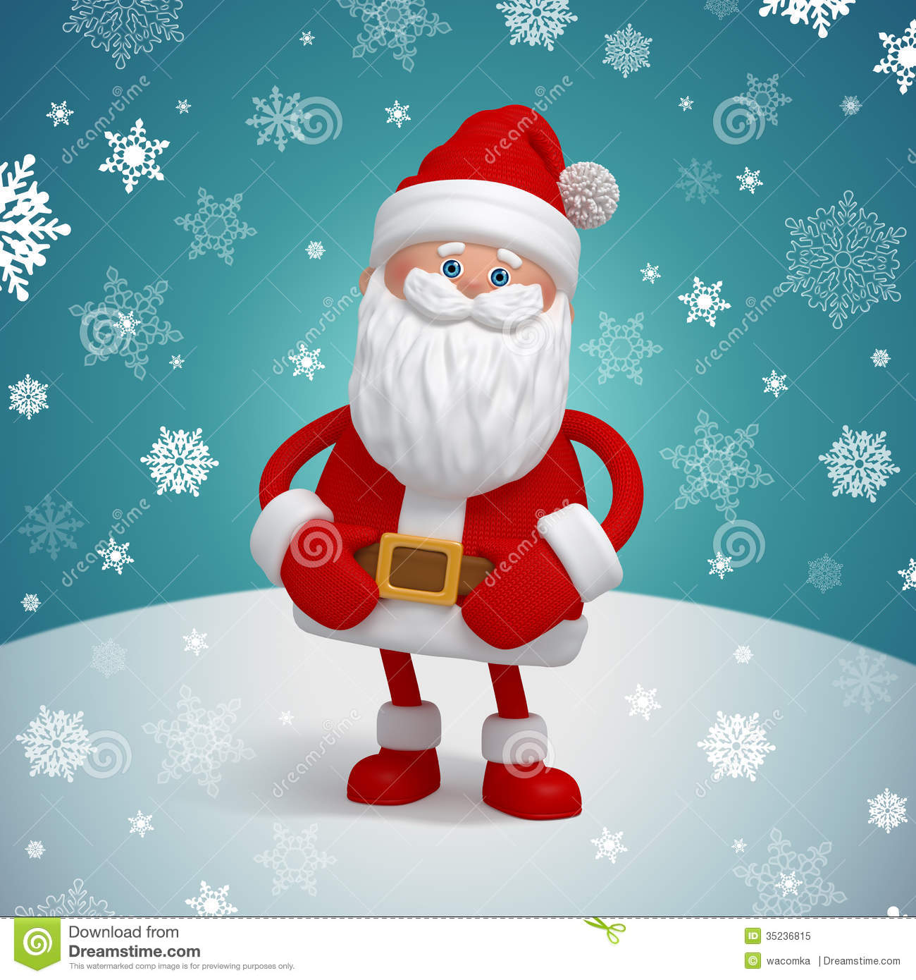 Cute 3d Santa Claus Cartoon Character Royalty Free Stock