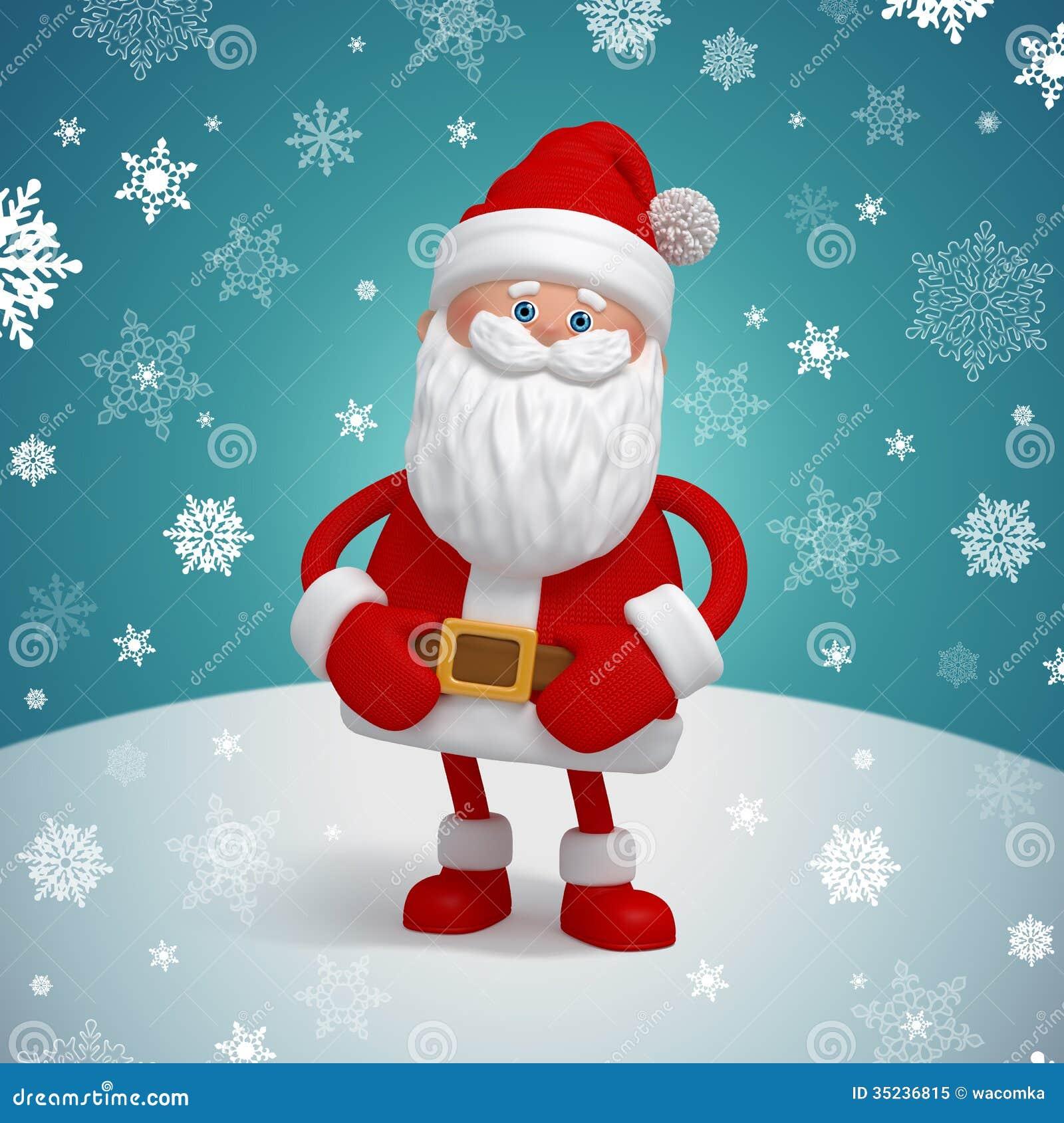 Cute 3d Santa Claus Cartoon Character Stock Illustration