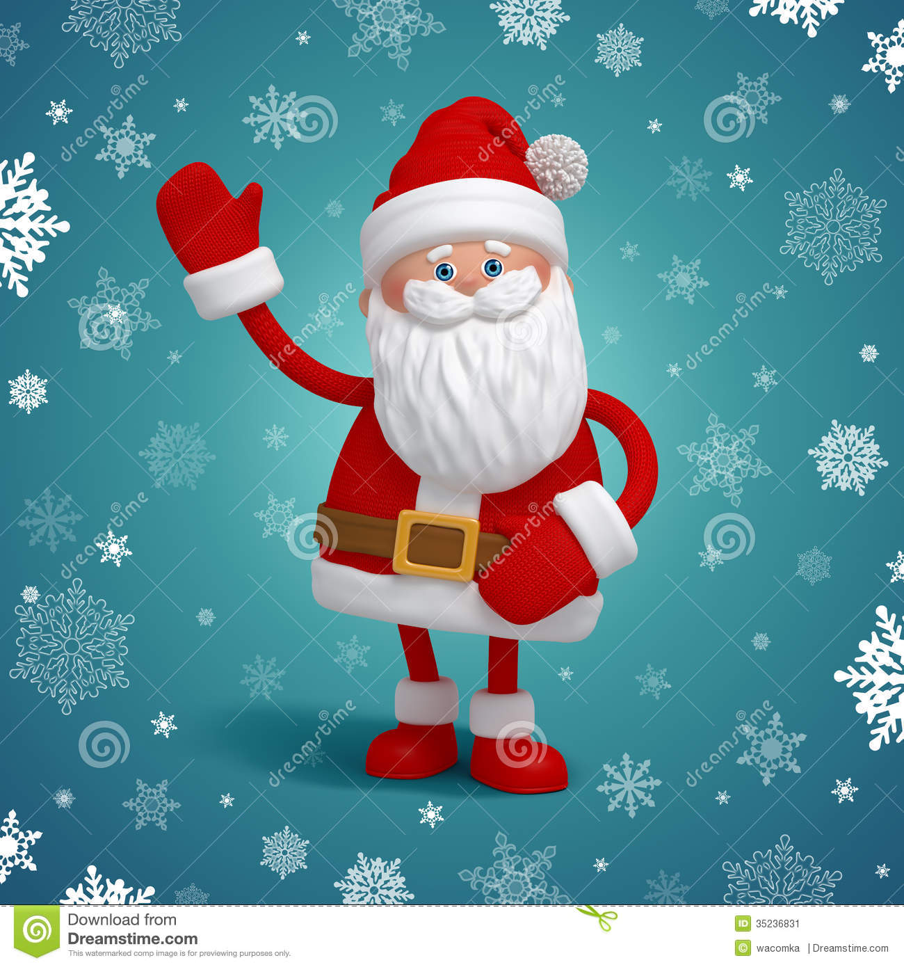 Cute 3d Santa Claus Cartoon Character Stock Image
