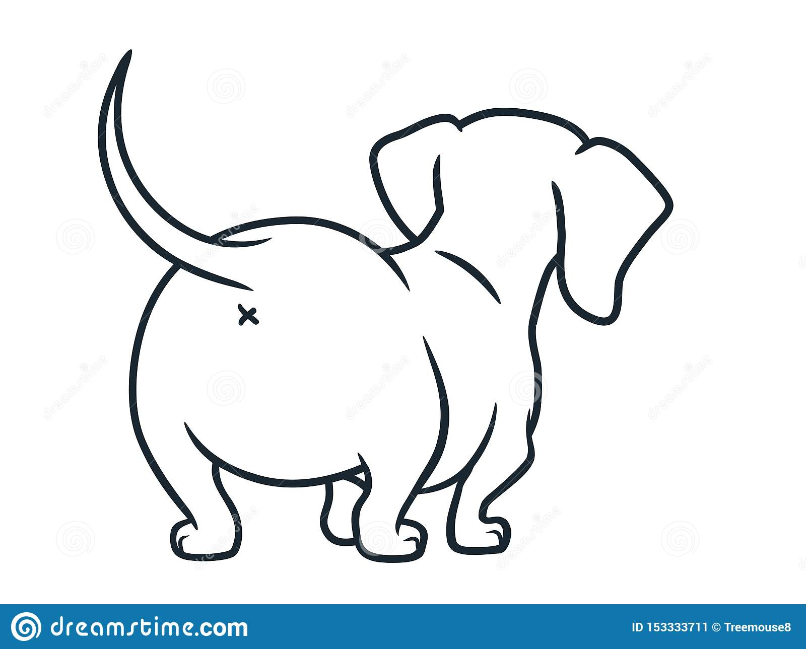 Cute Dachshund Sausage Dog Cartoon Illustration Isolated On White Simple Black And White Line Drawing Of Wiener Puppy Stock Illustration Illustration Of Page Standing 153333711