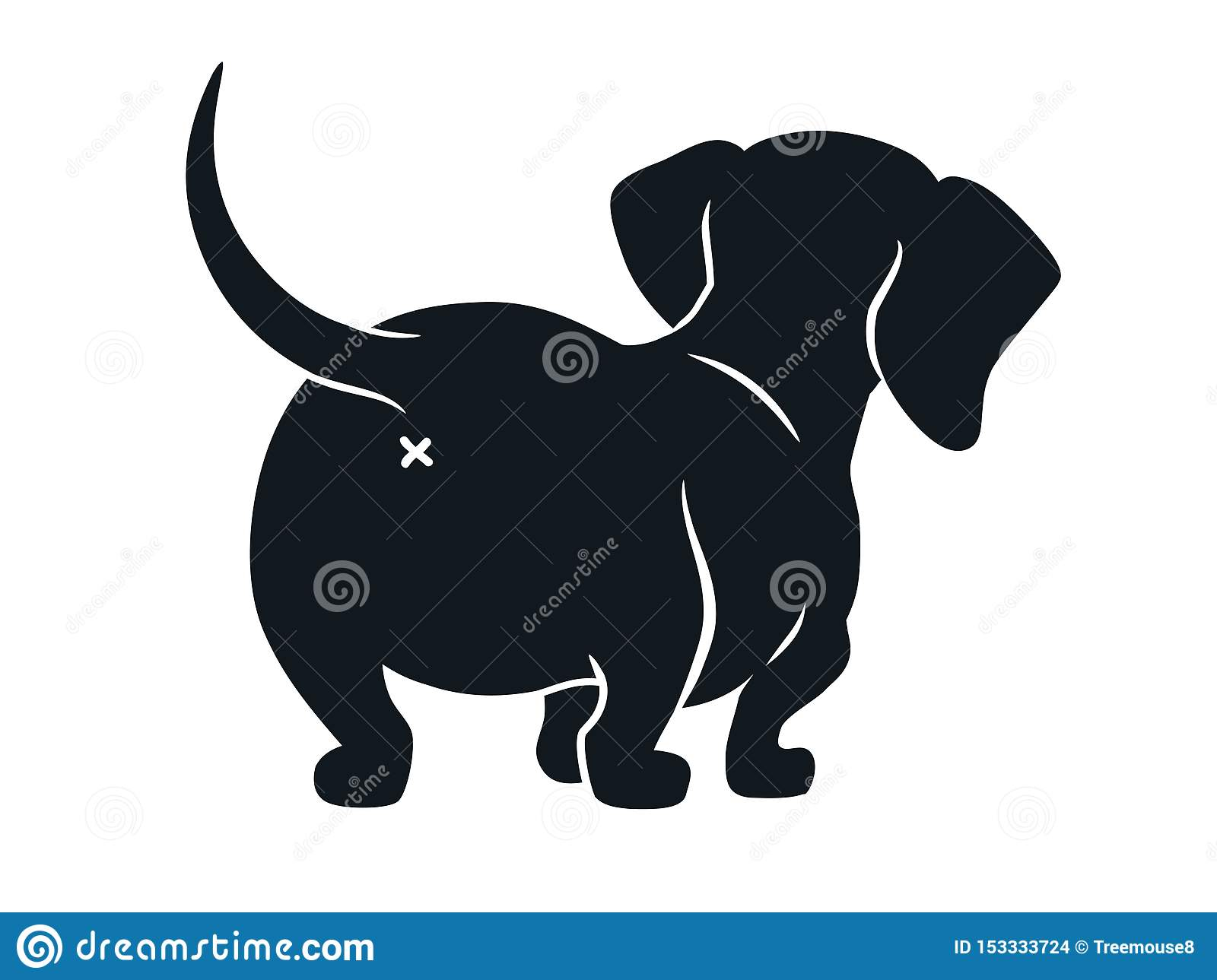 Cute Dachshund Sausage Dog Cartoon Illustration Isolated On White Simple Black And White Silhouette Drawing Of Wiener Stock Illustration Illustration Of Back Animal 153333724