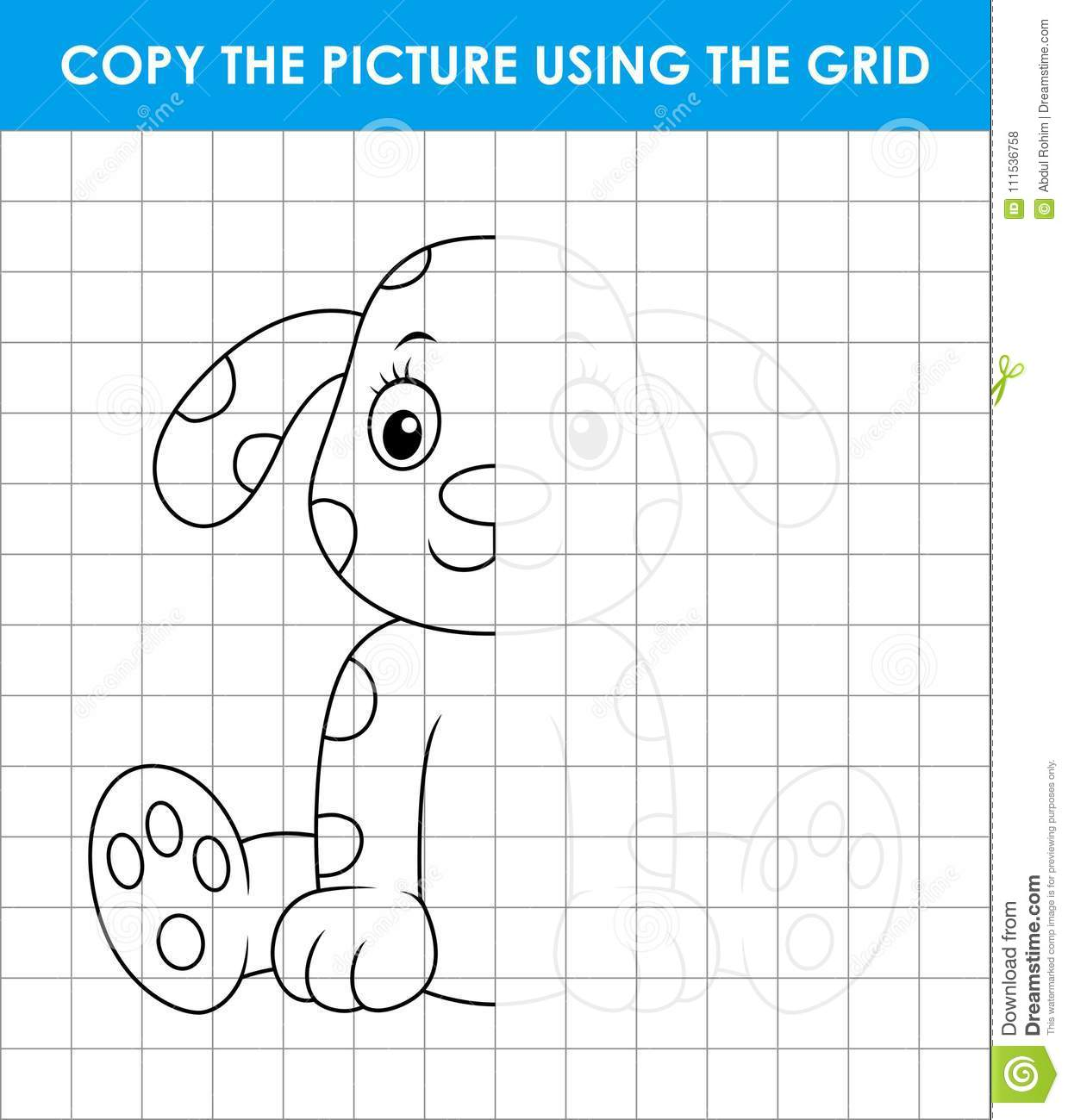 cute dalmatian dog sitting grid copy game complete the picture