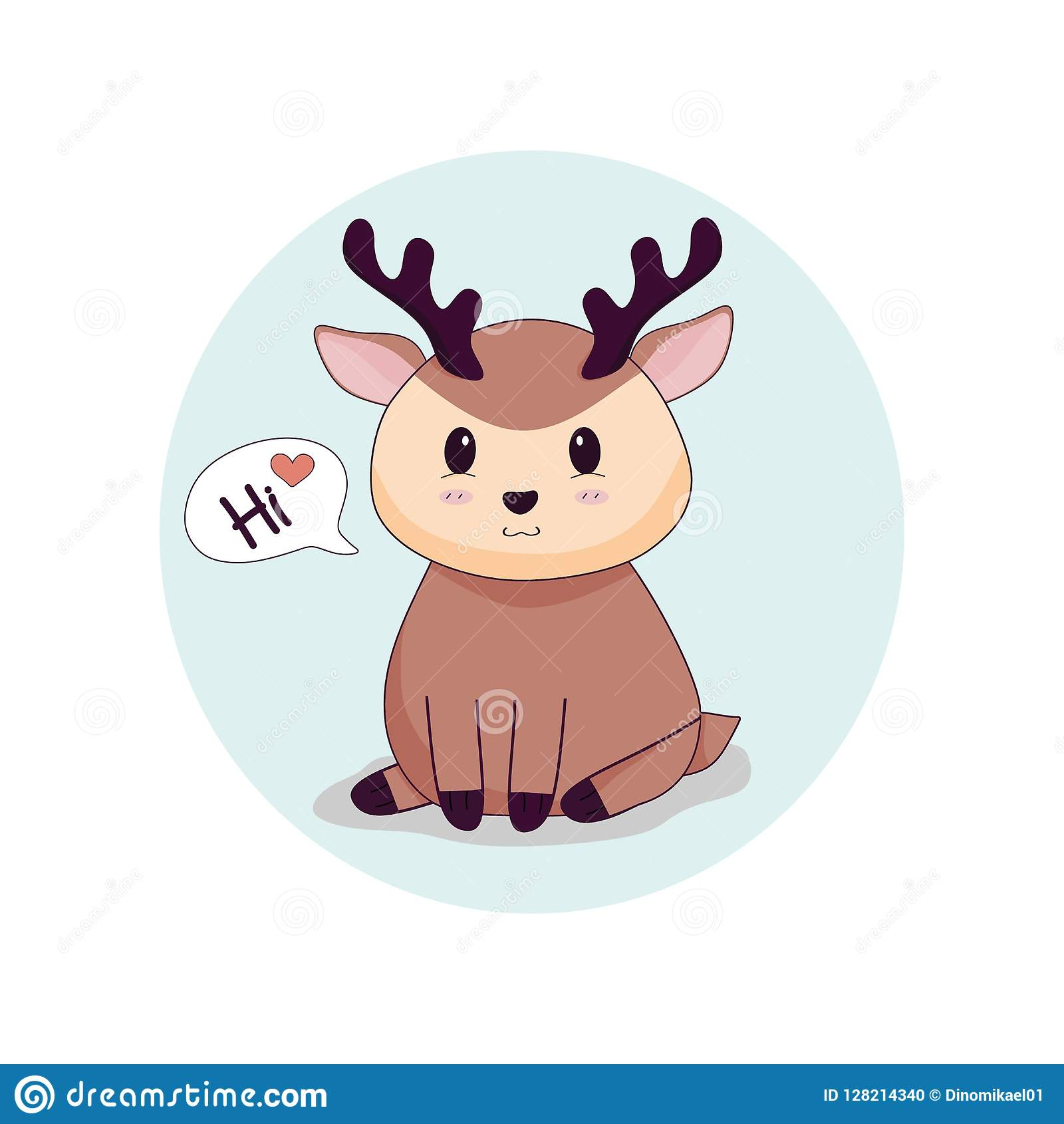 Cute Deer Graphic Say Hi With Love Stock Vector Illustration Of Icon Horn 128214340