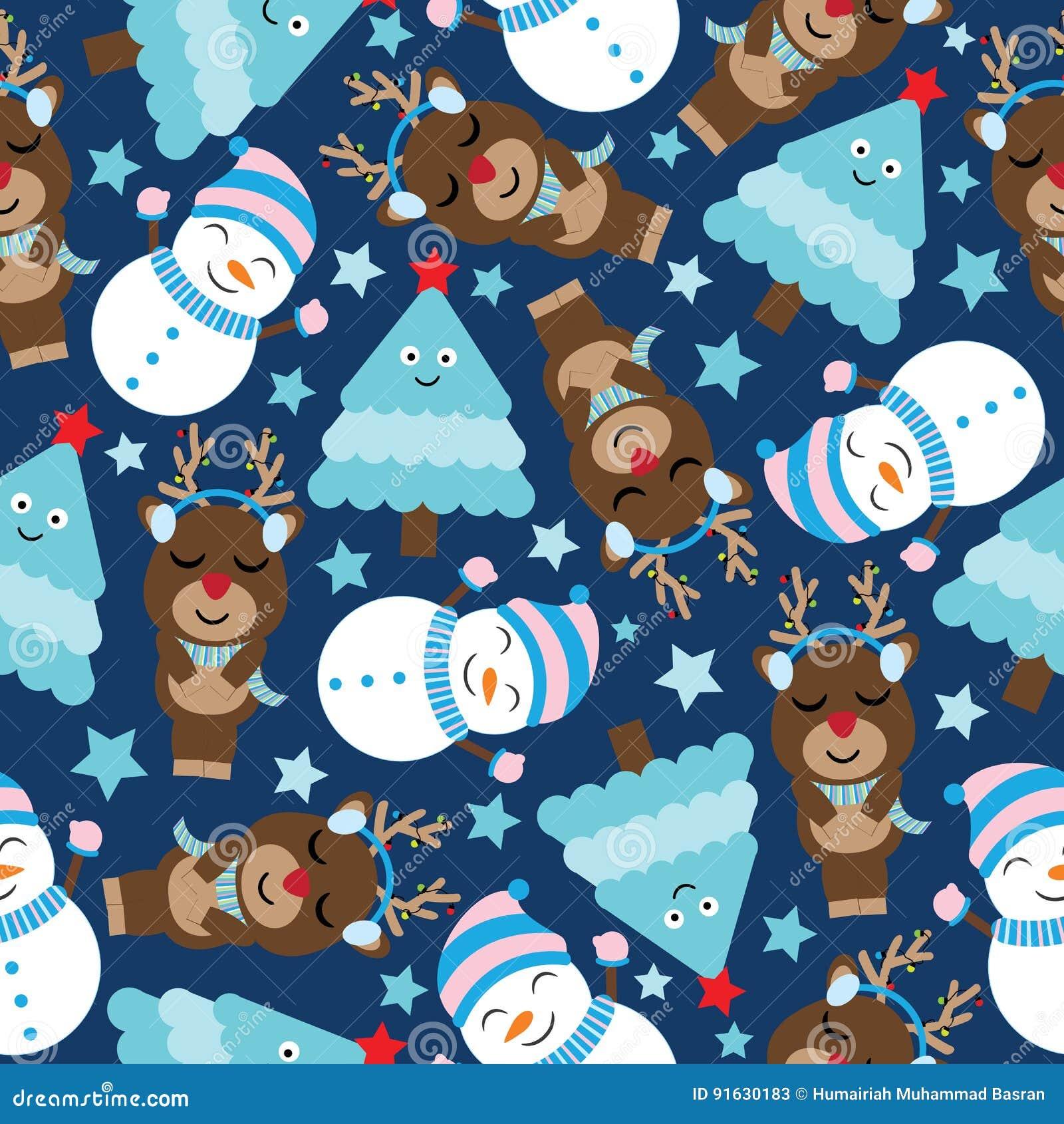 cute deer snowman tree dark blue background cartoon xmas seamless pattern postcard wallpaper t shirt design kids 91630183