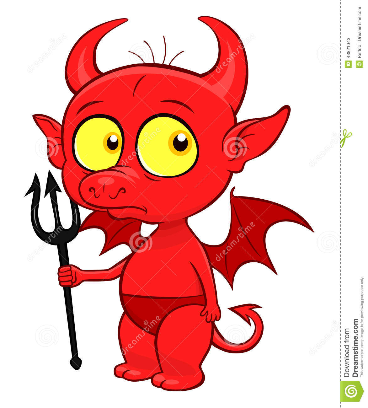 Cute little demon with small pitchfork isolated.