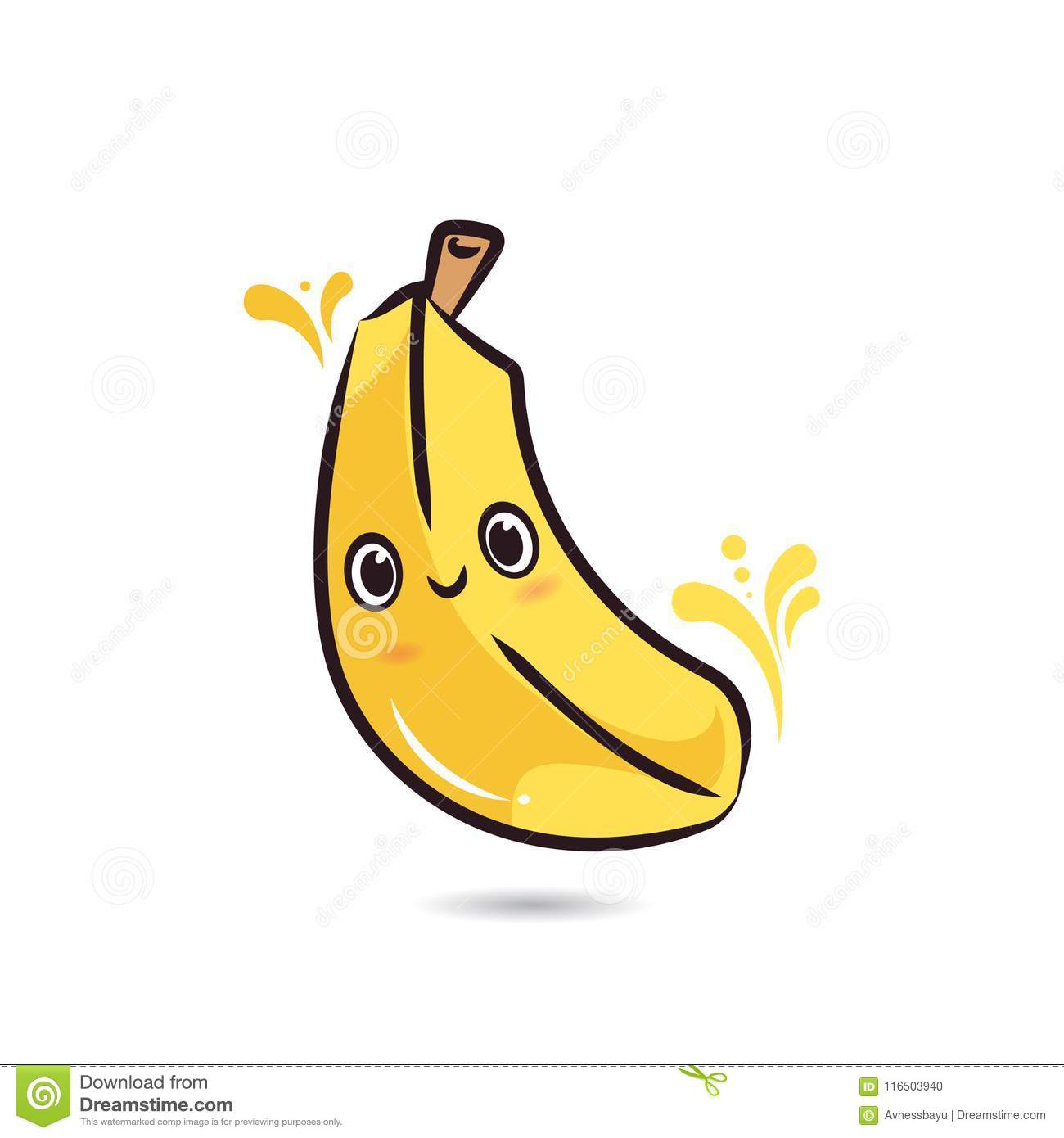 Cute Character Design Banana Face Stock Vector Illustration Of