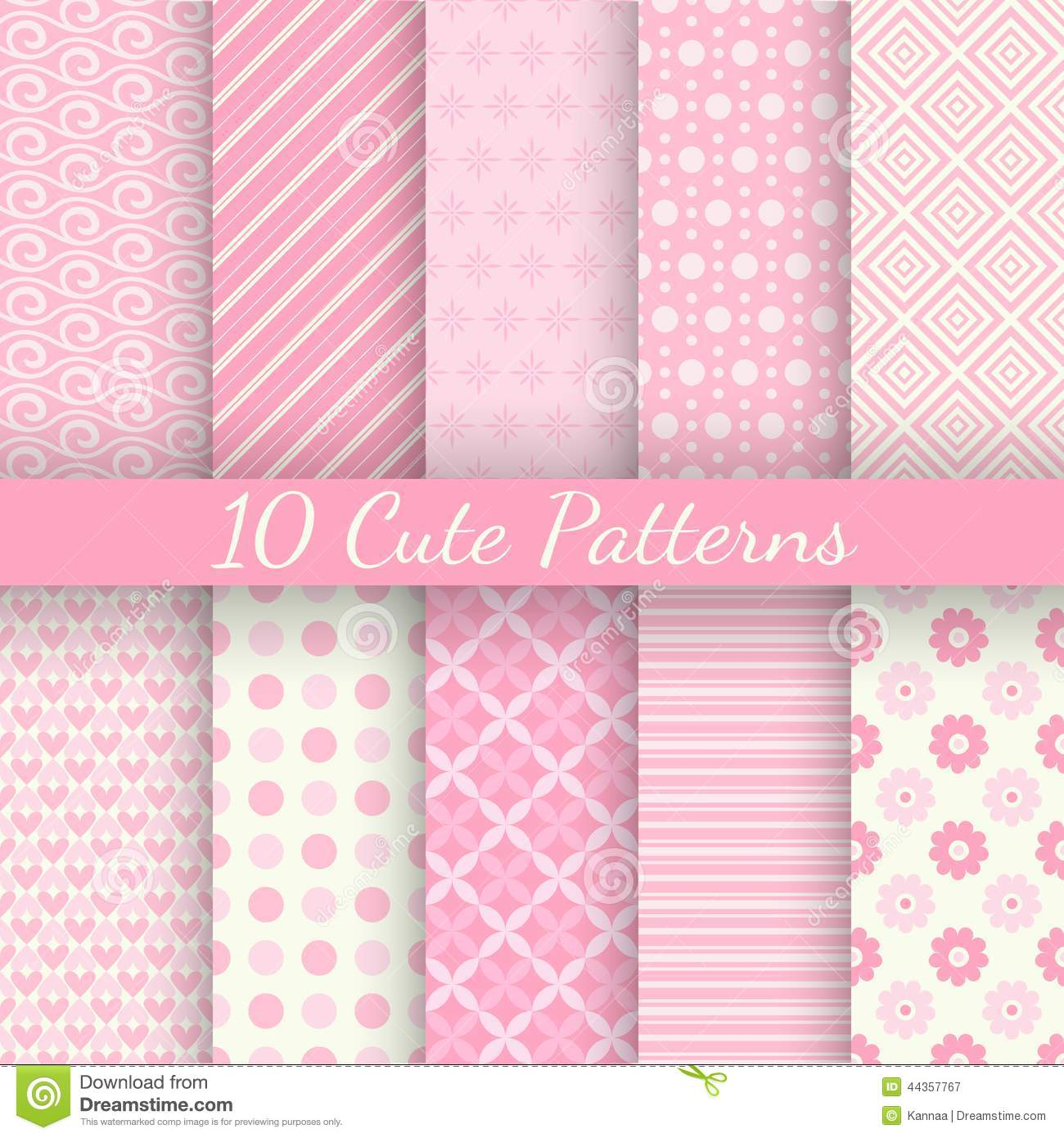10 Cute different vector seamless patterns. Pink