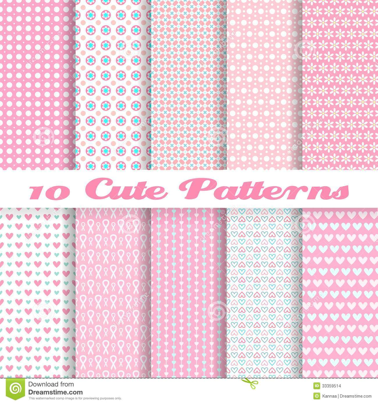 Cute different vector seamless patterns (tiling).