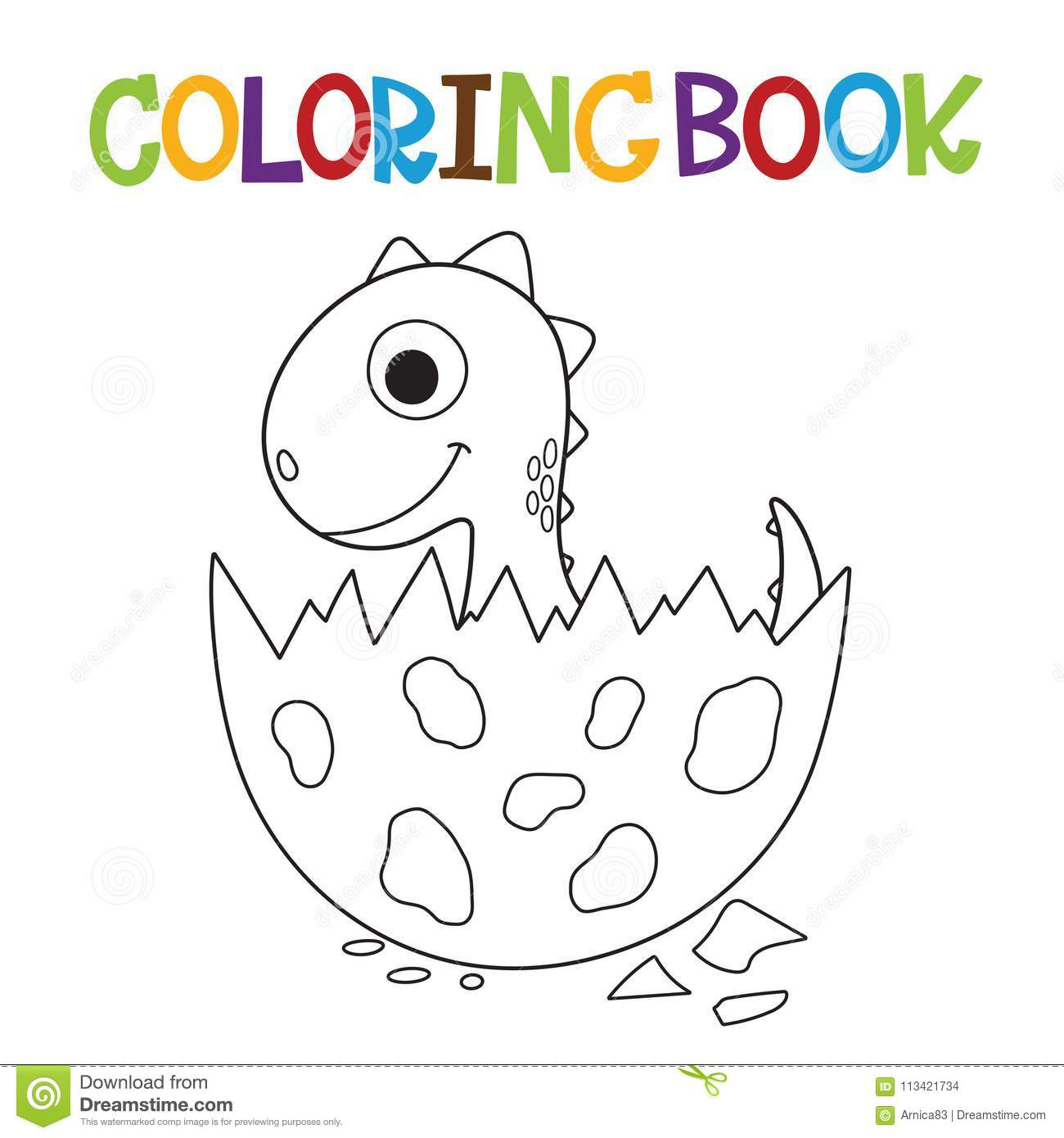 Cute Dino coloring book stock vector. Illustration of ...