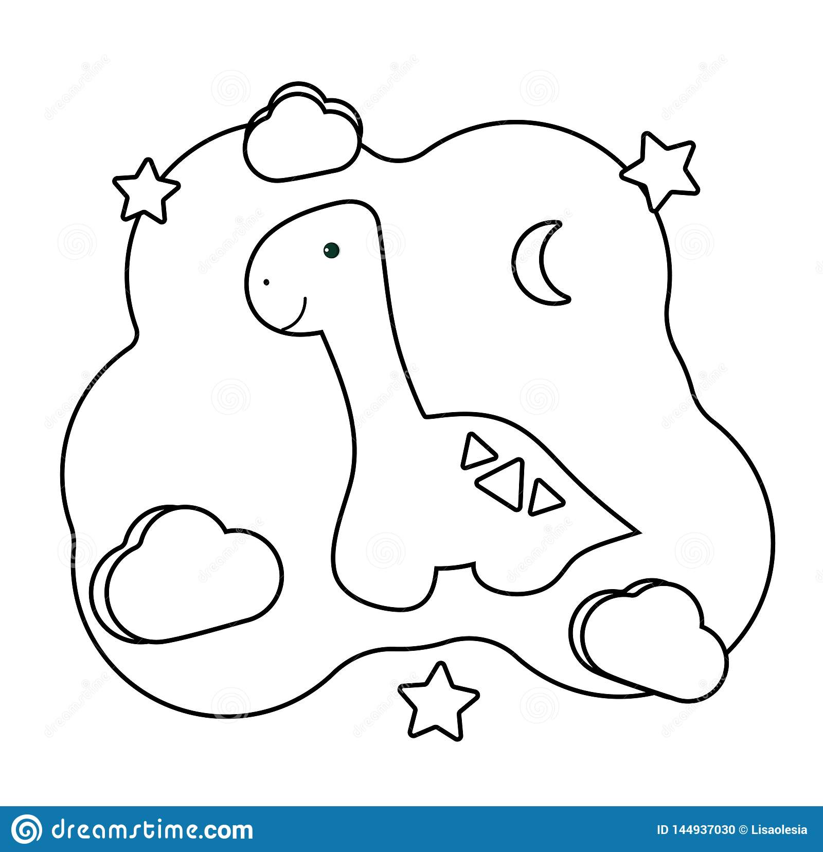 Cute Dino. Coloring Page With Dinosaur. Printable Game On ...