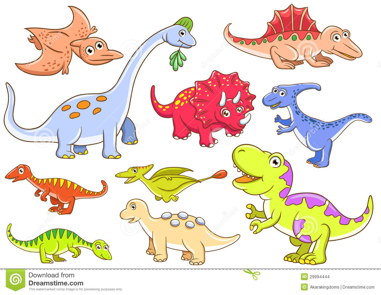 Cute Dinosaurs EPS10 File Simple Gradients No Effects Mesh
