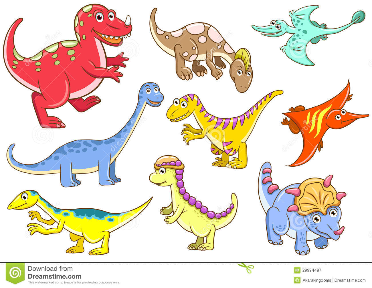 Cute dinosaurs EPS10 File - simple Gradients, no Effects, no mesh, no ...