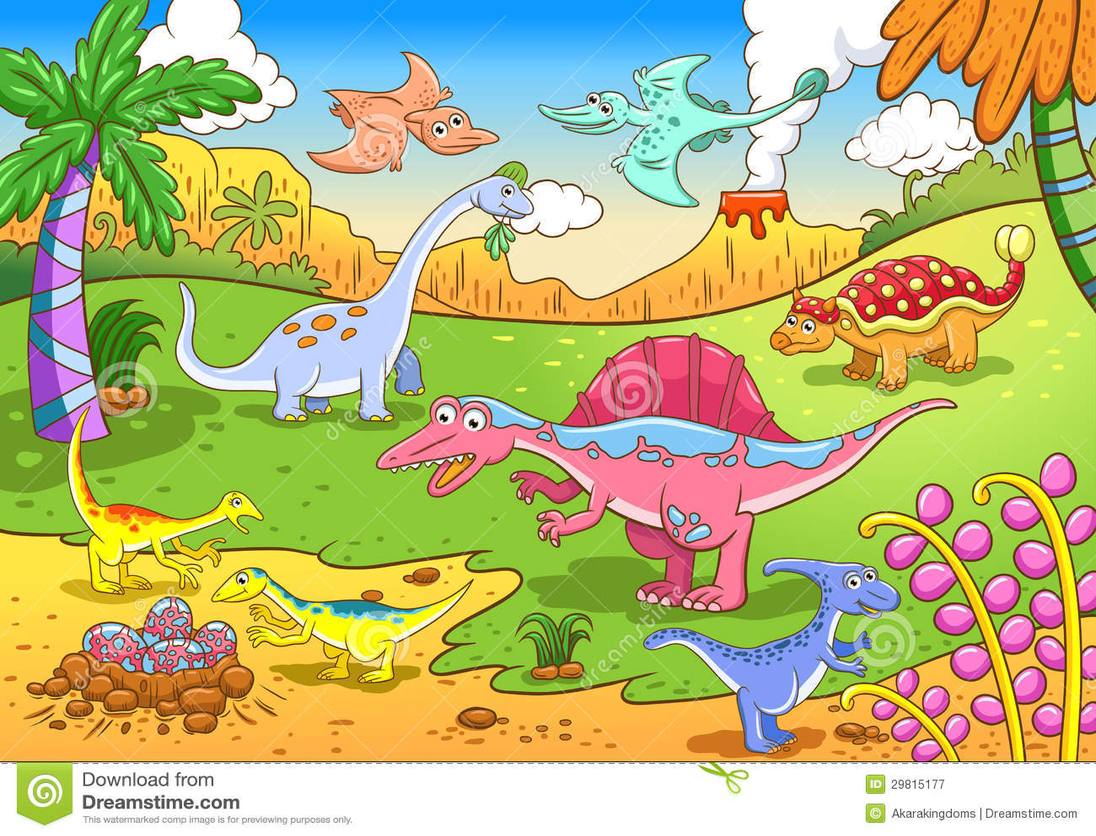 Cute Dinosaurs In Prehistoric Scene Stock Vector Illustration Of Cartoon Prehistoric 29815177