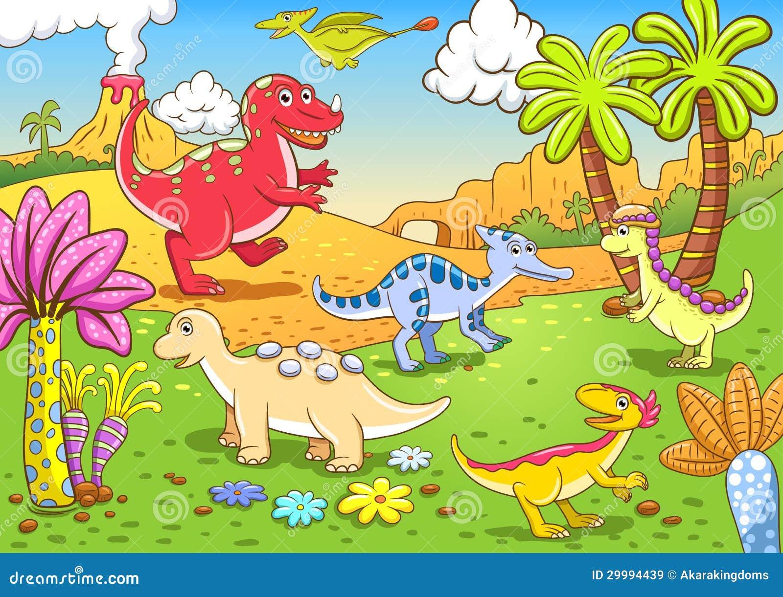 Cute Dinosaurs In Prehistoric Scene Stock Vector Illustration Of Smile Palm 29994439