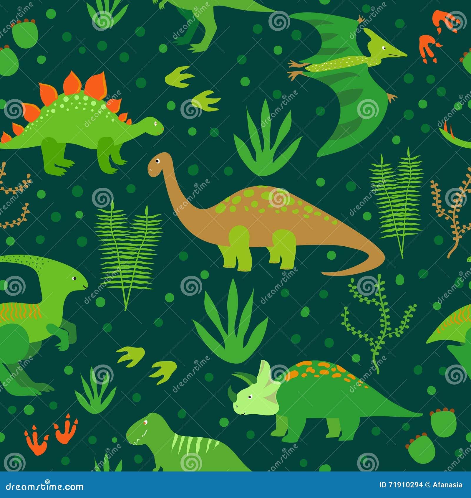 Cute Dinosaurs Seamless Pattern Stock Vector