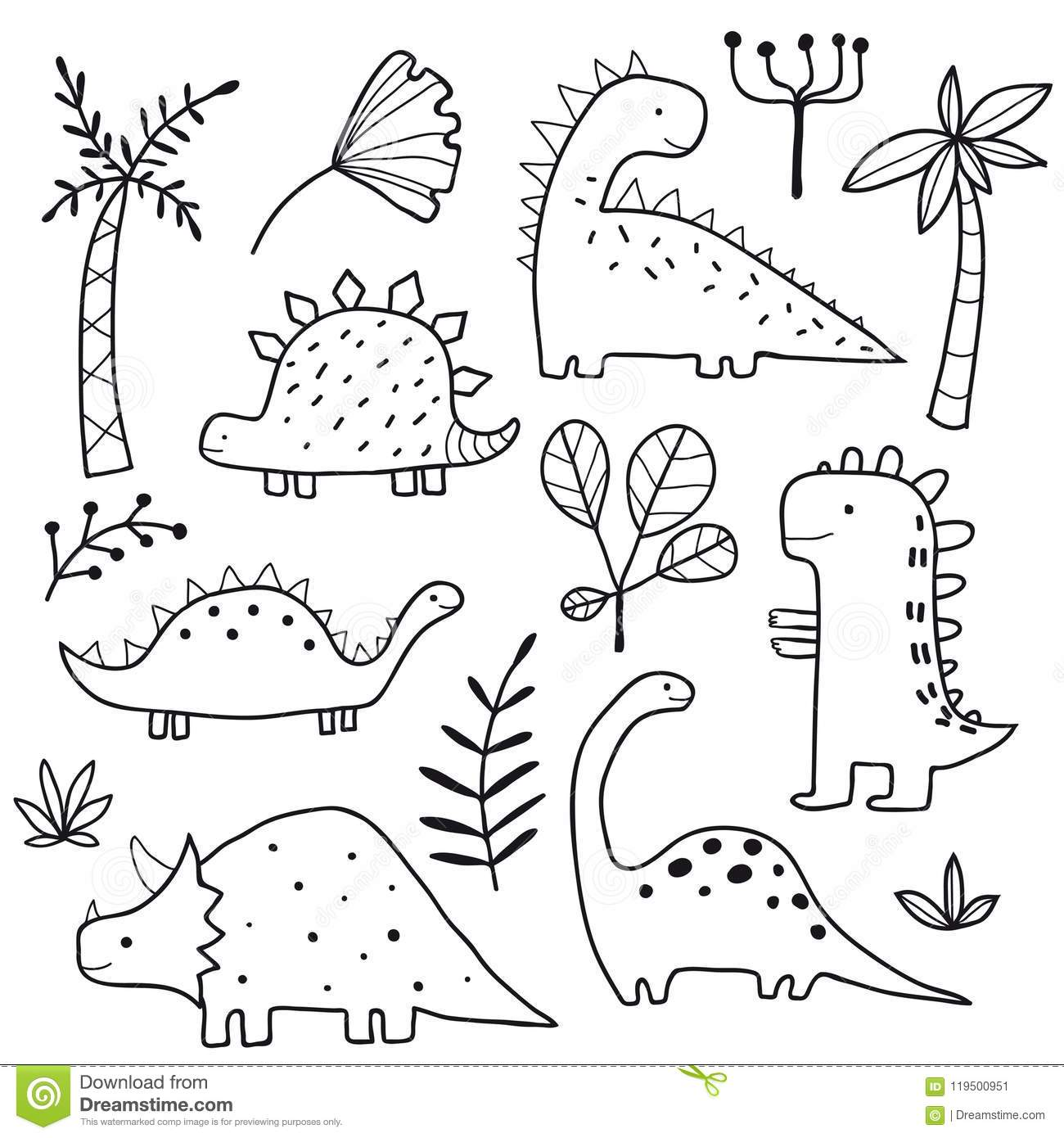 Cute Dinosaurs And Tropic Plants Stock Vector Illustration Of