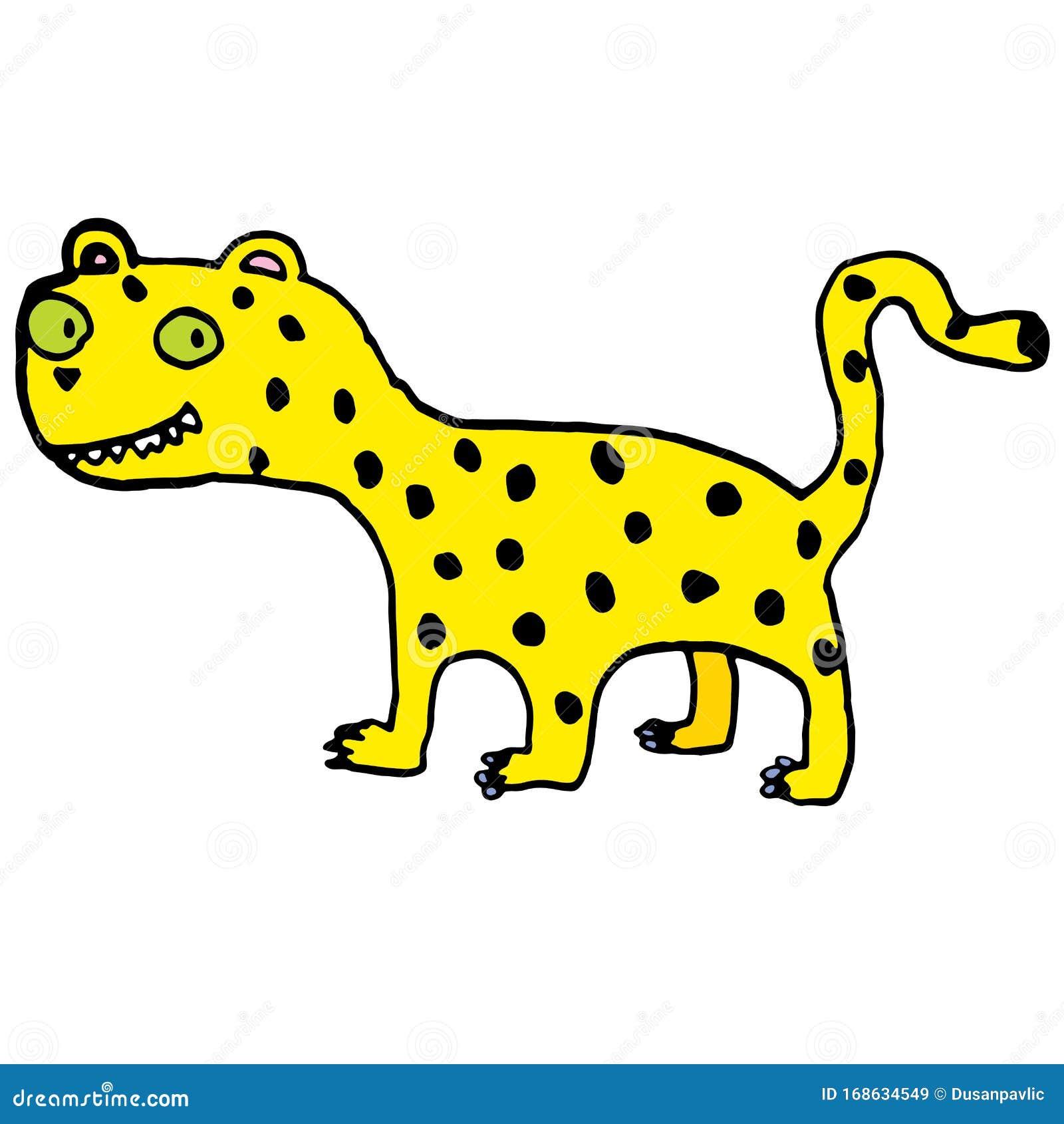 Cute Doddle Draw Of Jaguar Stock Vector Illustration Of Cartoon