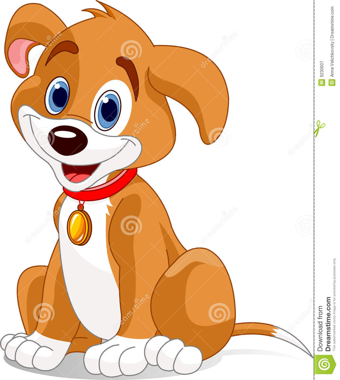 Vector illustration of a cute dog.Wearing a red collar with a dog tag.