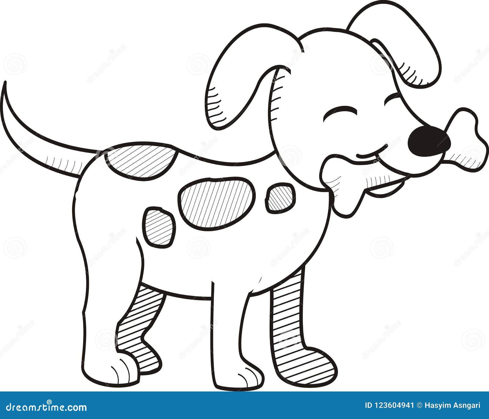 Cute Dog Bites Bone Hand Drawn Style Stock Illustration ...