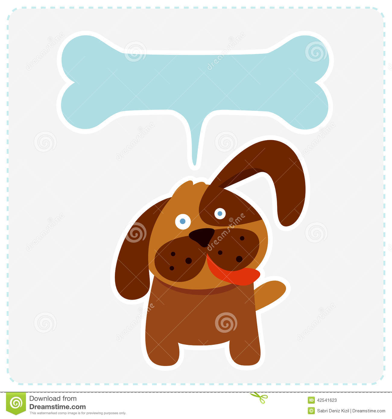 Cute Dog With Bone Speech Bubble Stock Vector
