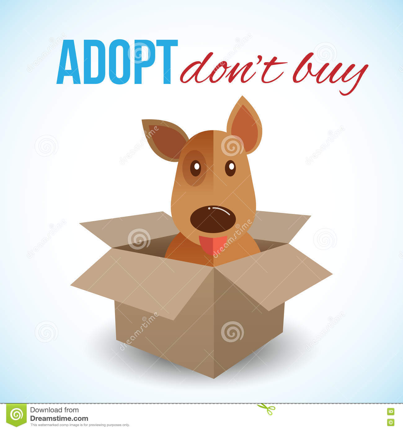 Cute dog in a box with Adopt Don t buy text. Homeless animals concept, pets adoption theme. Vector illustration