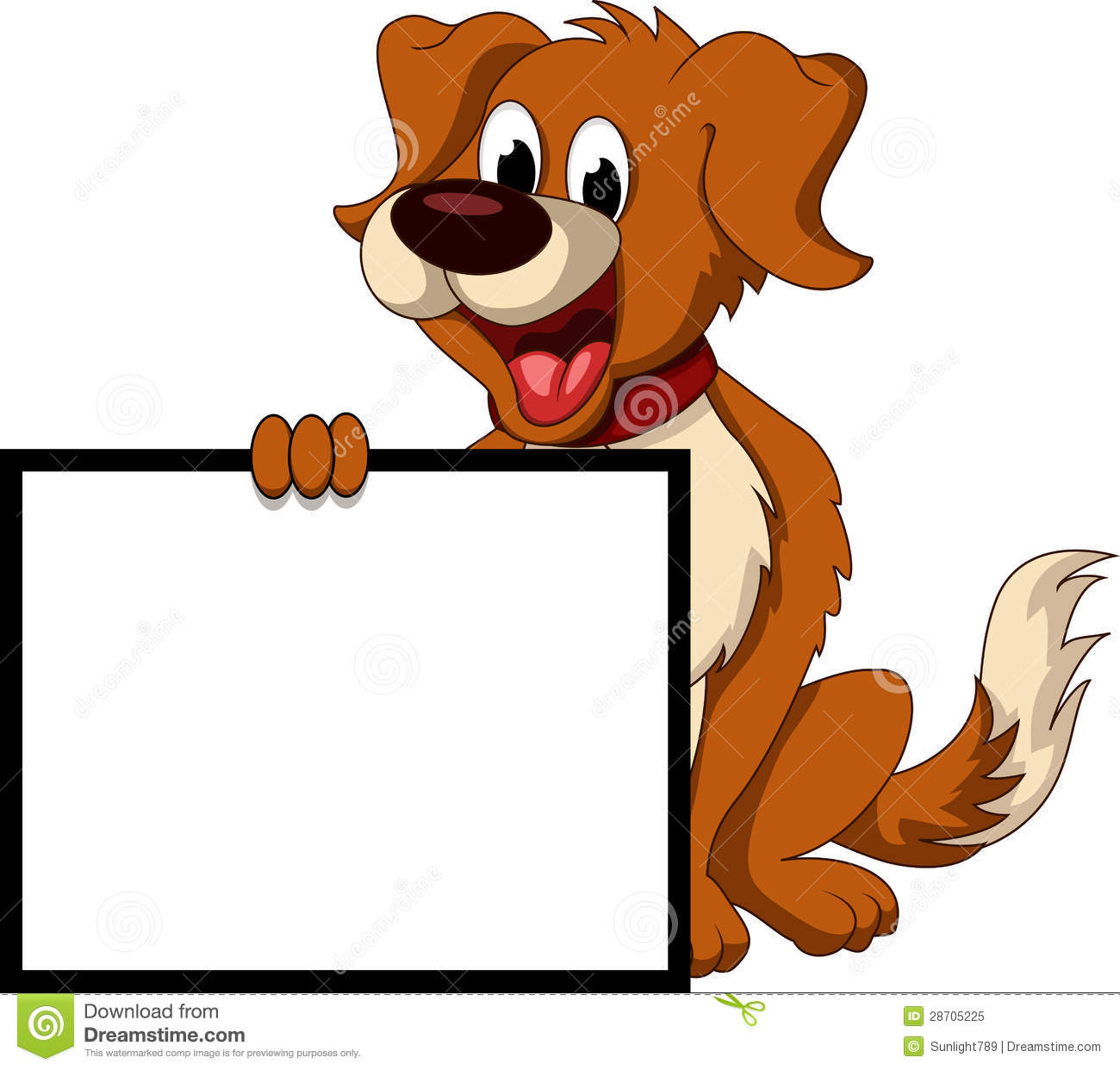 Cute Dog Cartoon Holding Blank Sign Royalty Free Stock Photo - Image ...
