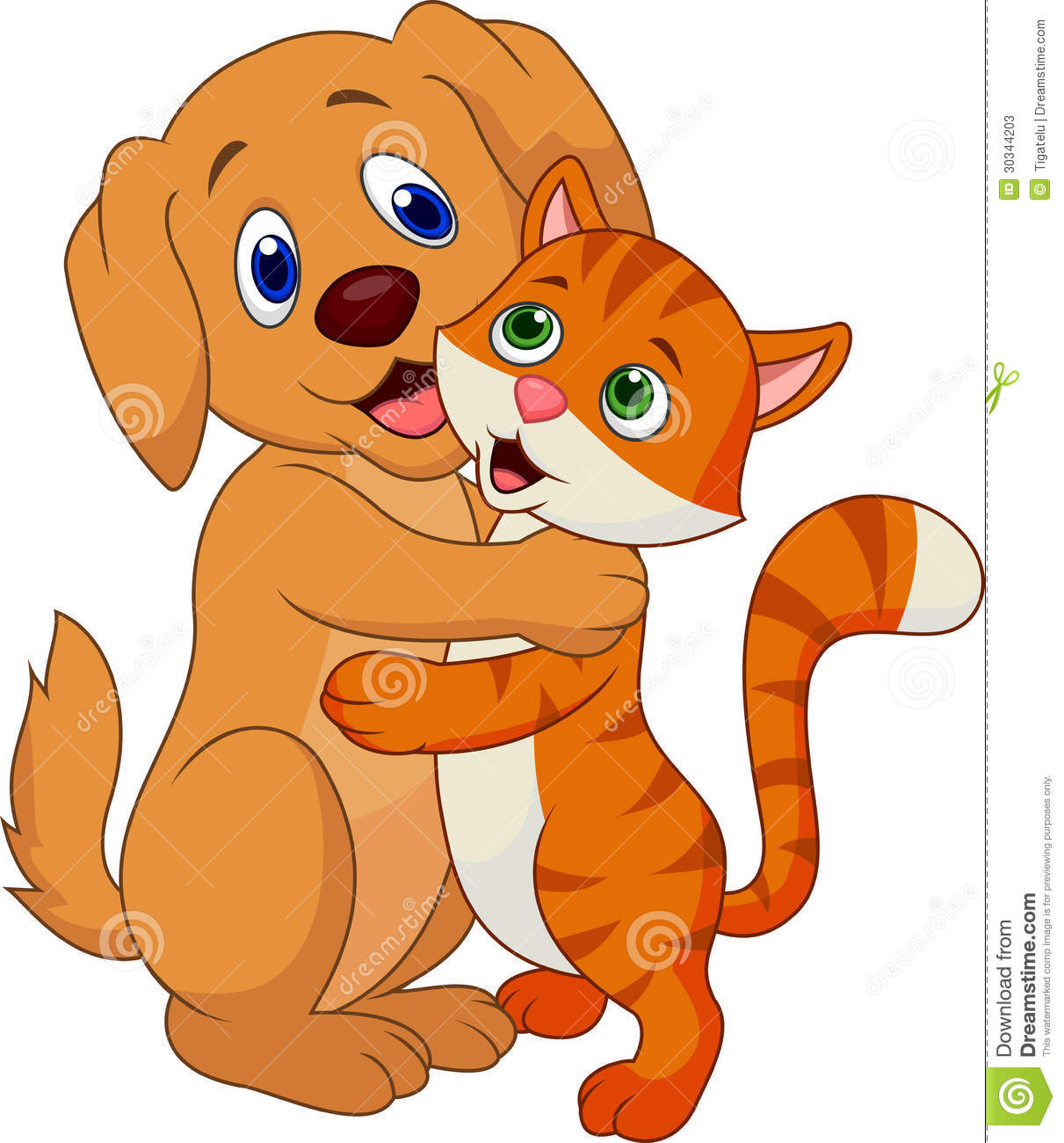 Illustration of cute dog and cat cartoon embracing each other