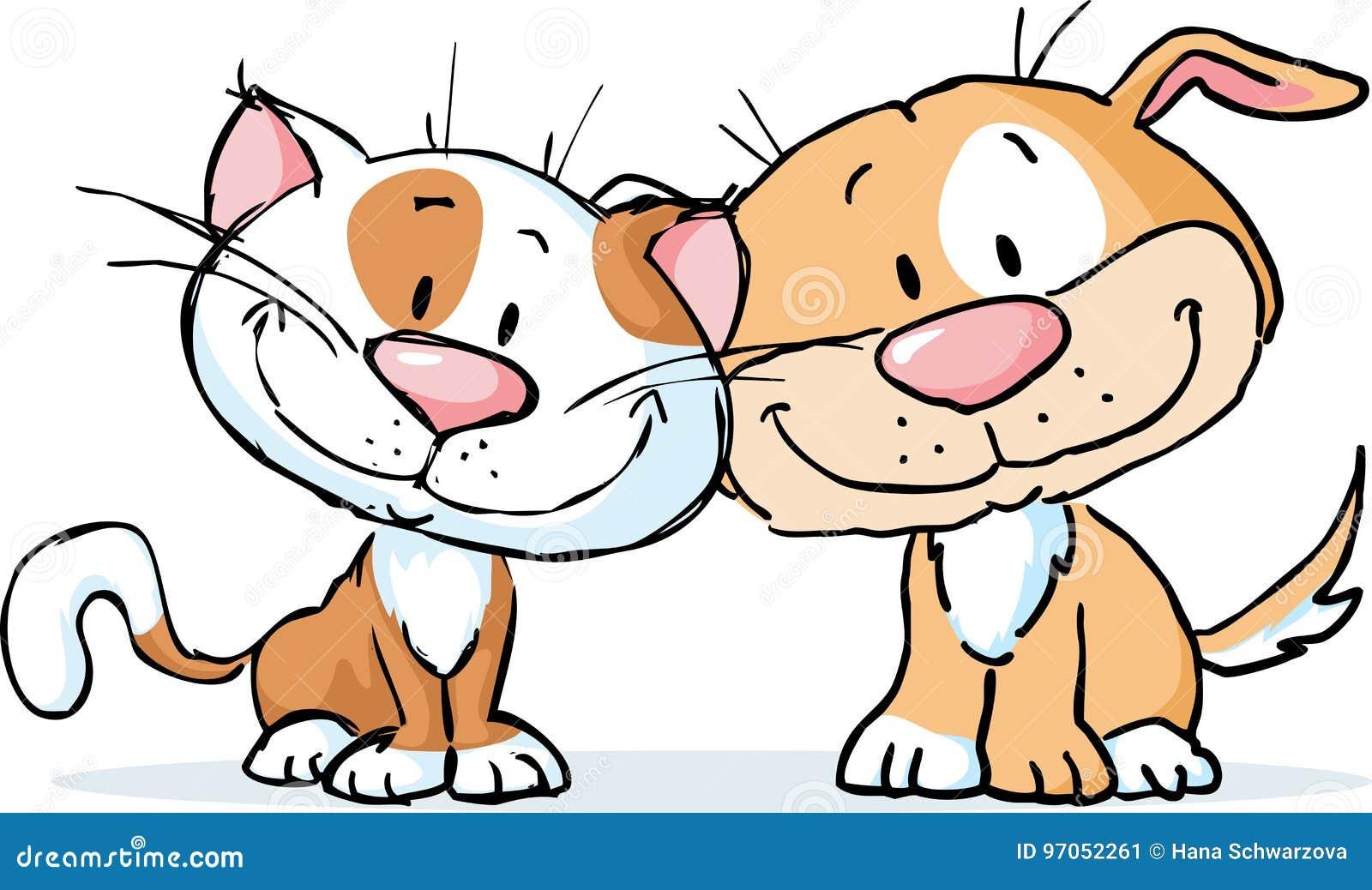 Cute Dog And Cat Vector Illustration Cartoon Isolated Stock Vector Illustration Of Kitten Happy 97052261